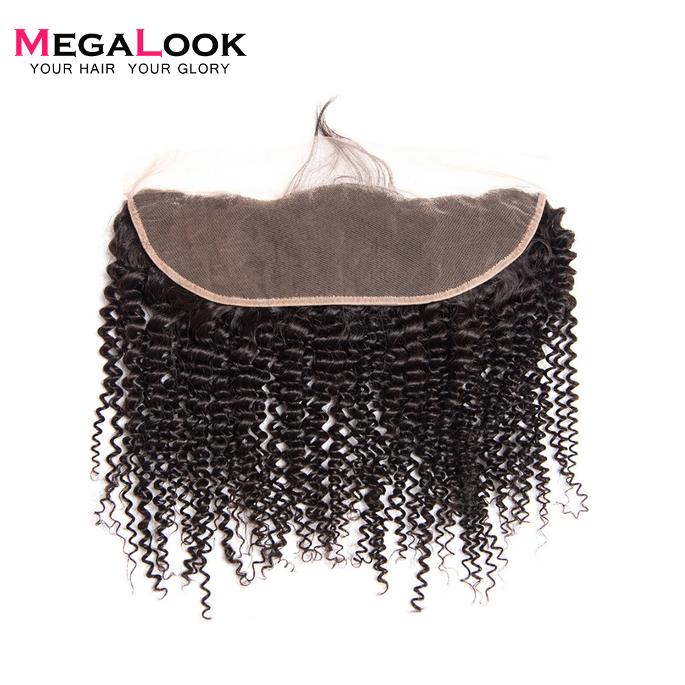 Megalook Human-Hair Lace-Frontal Curly Kinky Brazilian with 10-22-Inch 13X4 Pre-Plucked