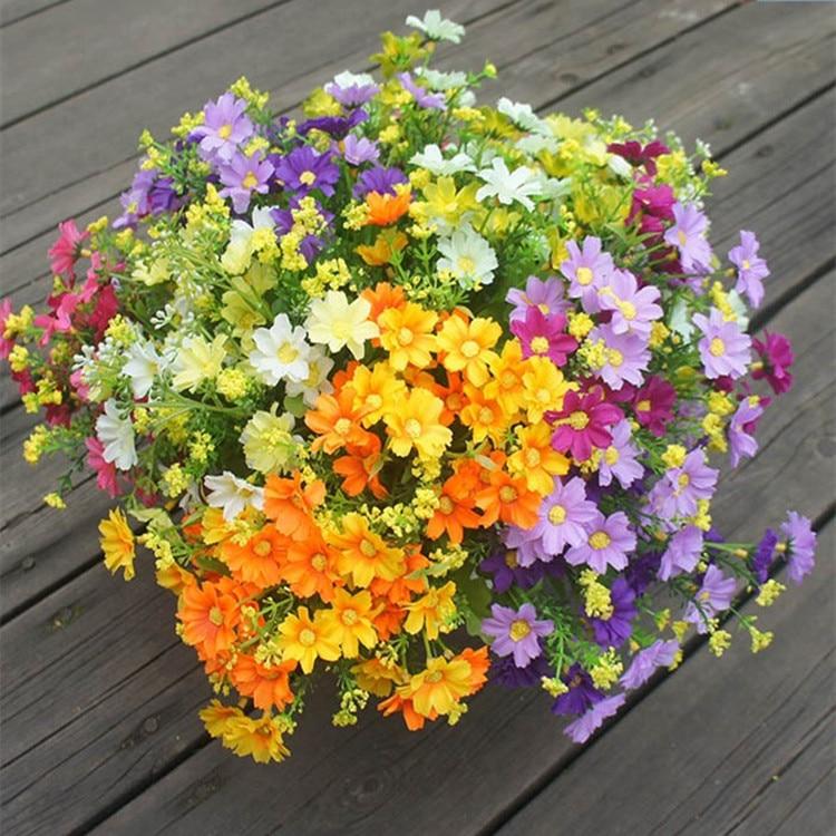 unids europea floral ramo de flores de seda de flores de primavera margarita flores