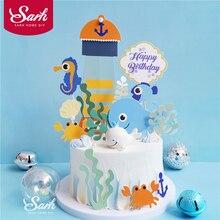 Ocean Sirena Alghe Toppers Torta di Buon Compleanno Stelle Marine Decorazione per il Giorno dei bambini Del Partito Forniture di Cottura Regali Belli