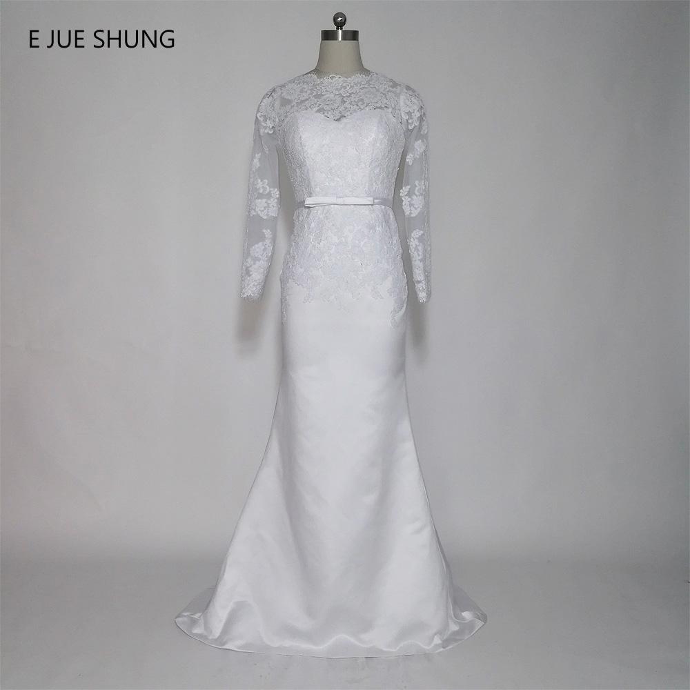 E JUE SHUNG White Lace Appliques Mermaid Wedding Dresses Lace Up Back Long Sleeves Wedding Gowns trouwjurk