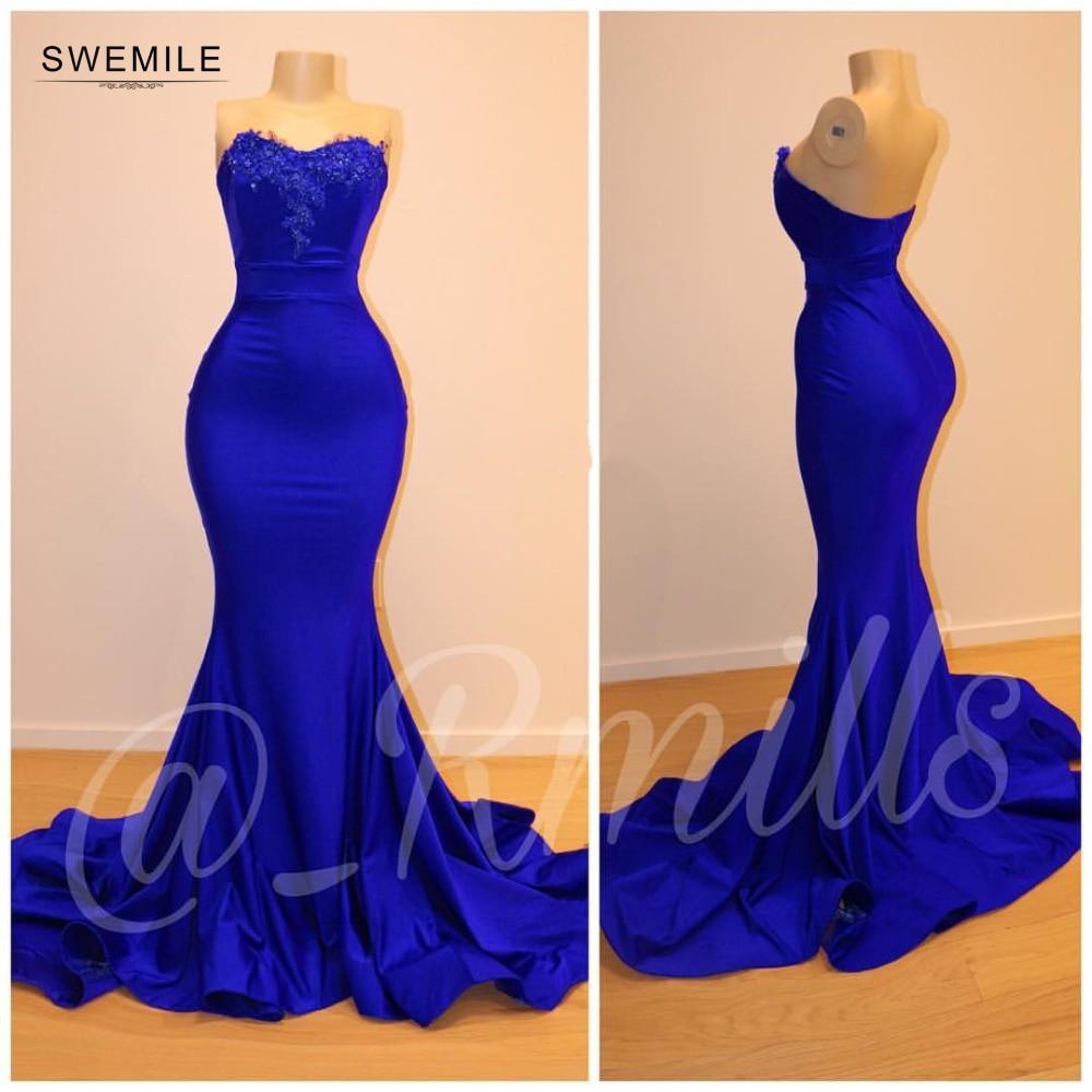 Vestidos De Gala Sexy Backless Royal Blue Mermaid Prom Dresses 2019 Elegant Lace Appliques Sweetheart Evening Party Dresses