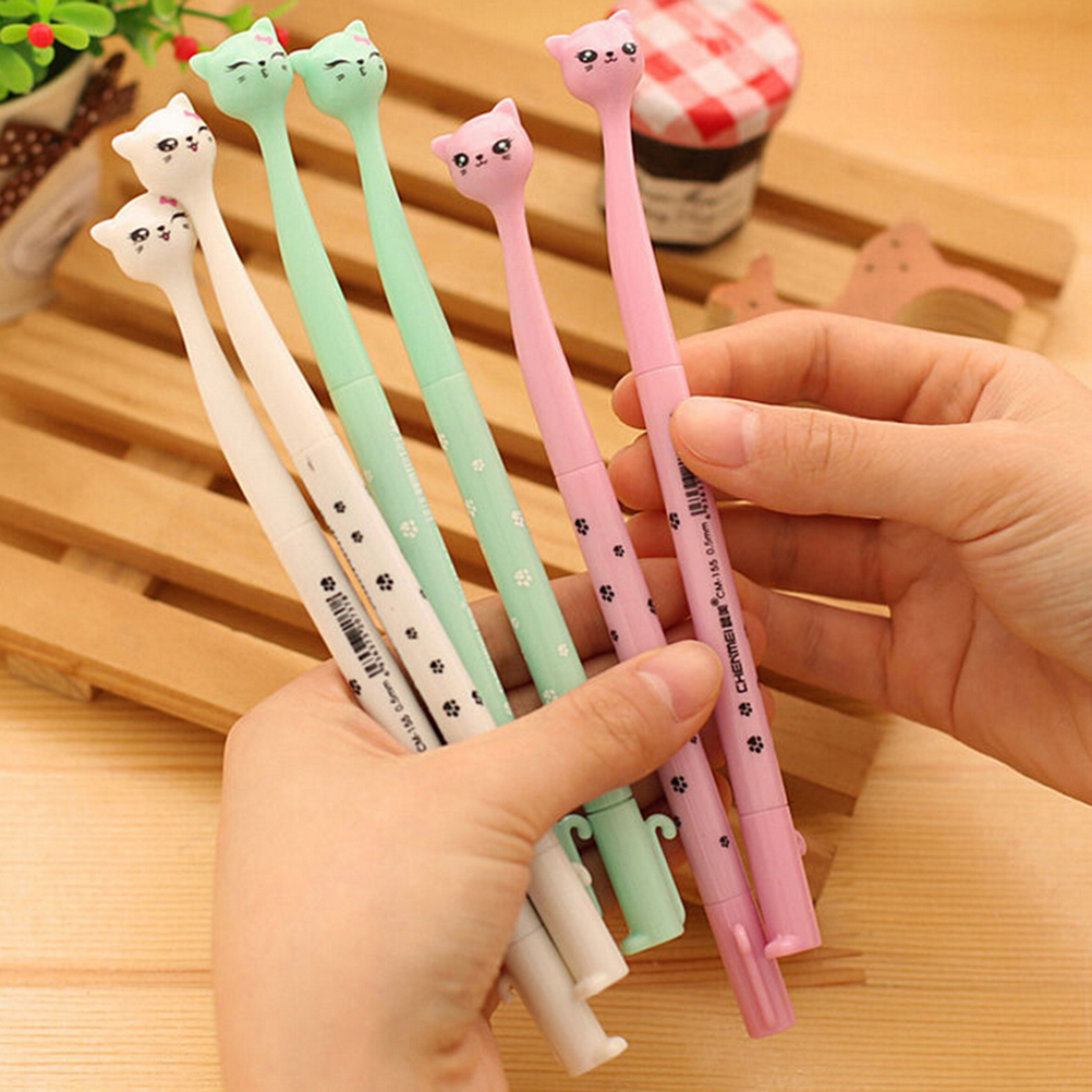 4Pcs/lot Cute Kitten Cat Footprints Black Gel Ink Roller Ball Point Pen For Drawing Stationery Tools Gift Toys  Children Kids