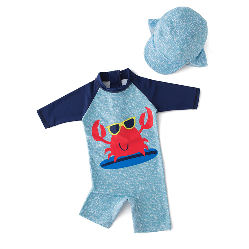 Baby Boy Swimwear+hat 2pcs Set Surfing Wear Red Crab Swimming Suit Infant Toddler Kids Children Sunscreen Beach Bathing Suit