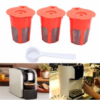High Quality 3PCS Orange Coffee Filter K-Carafe Reusable Refill Capsule +1 Spoon Bundle K Cup Filter For Keurig 2.0