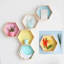 2Pcs/Set Girl Baby Bedroom Storage Racks DIY Stars Creative Nordic Home Decor Hexagonal Frame Wooden Pink White Honeycomb