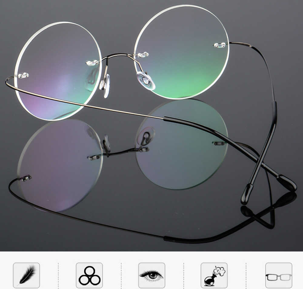 Ultra-light Rimless Round silver frame Reading Glasses Vintage Classic TREND Spectacles +1 to+4 Progressive Or Photochromic Lens