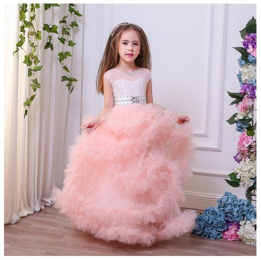 все цены на Girl's Long Formal Dress 2017 Flower Girls Princess Dresses Floor Length Kids Gauze Party tutu Dress Gowns Children's Dancewear