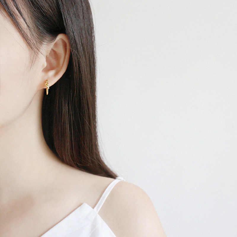 Lá bay Vàng Sợi Dây Thừng Thắt Nút Shape Hoop Bông Tai Cho Phụ Nữ 2018 Xu Hướng Mới 100% 925 Sterling Silver Lady Đồ Trang Sức Thời Trang