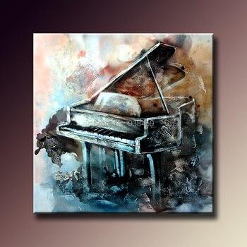 100% ручная роспись Масляные картины на холсте музыкальный инструмент абстракция пианино живопись настенные художественные картины для дом