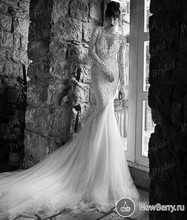 Free Shipping Sexy Low Back V Neck Tulle Bottom Court Train Full Sleeves Lace Top Wedding Dress 2015 Bridal Gown MF619