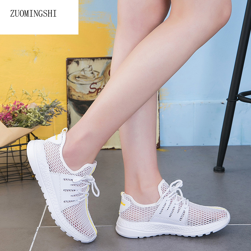 2018 Women's shoes sneakers new nurse shoes mesh breathable lace up summer mesh lightweight and comfortable casual shoes