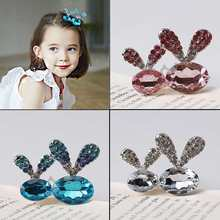 M MISM 2019 New Year Bunny Ears Kids Hair Pins Crystal Girls Gifts Hair Clips Children Headwear Cute Hairgrip Hair Accessories(China)