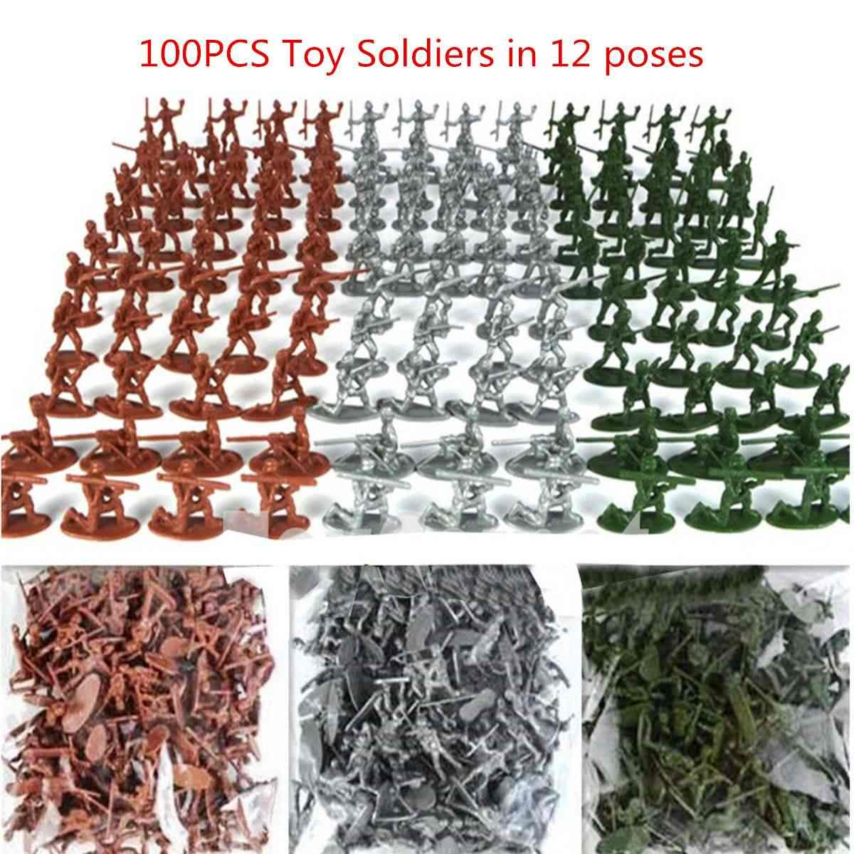 100pcs/set Military Plastic Toy s Army Men Figures 12 Poses Gift Toy Model Action Figure Toys For Children Boys
