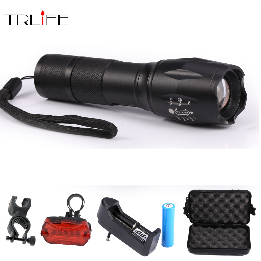 2008 NEW Bicycle light CREE XM-T6 Bike Flashlight LED Bike Light Torch With Mount Holder cycling Bike light+Taillight+Charger zk35 cree xm l 3800 lm q5 led flashlight torch zoomable light black led bicycle light with battery and charger holder