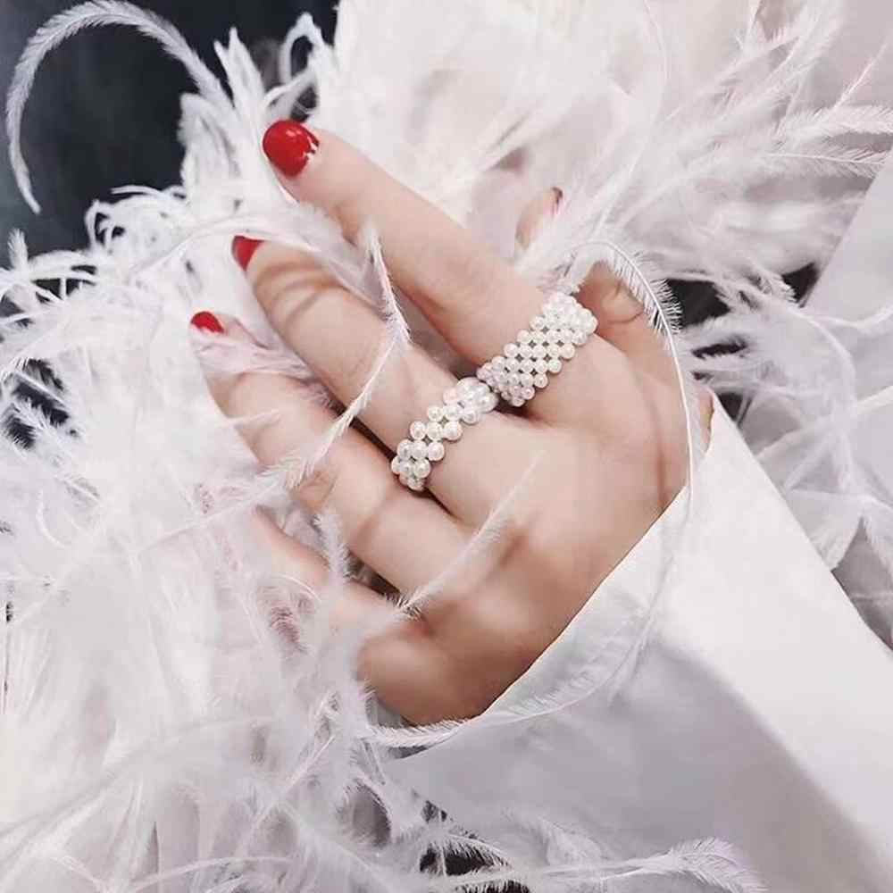 INS Hot Pearl Rings Women Fashion Elastic Ring Finger Simple Pearl Braided Girls Popular Jewelry Luxury Gifts Bridal Wedding