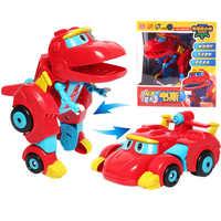 Neueste ABS Große Verformung Gogo Dino Action-figuren mit Sound REX Transformation Auto Flugzeug Motorboot Kran Dinosaurier spielzeug