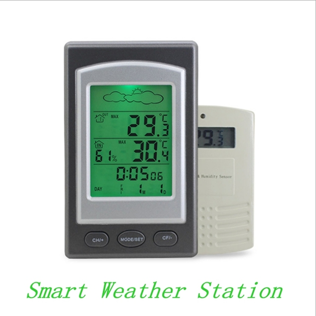 Wireless Weather Station Digital Smart Home Thermometer Hygrometer In Outdoor Alarm Clock 100m Temperature Sensor Green