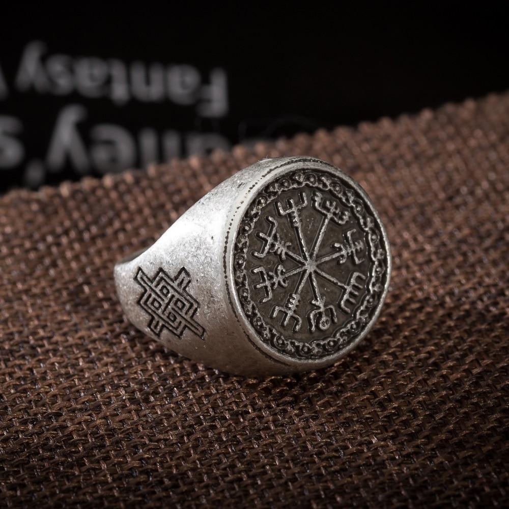 1pc Viking Vegvizir Rings Runes Symber Signet Runic Ring Norse Knot Anel  Bague Men Jewelry
