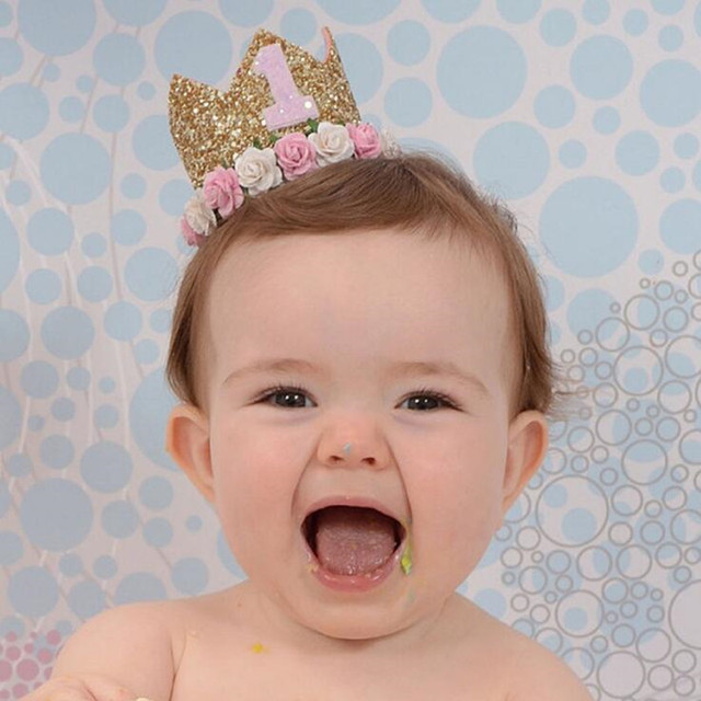 Girl First 1st Crown One 2nd Three Year Old Number Princess Pink Birthday Hat Baby Party Favor Dress Decoration Christmas