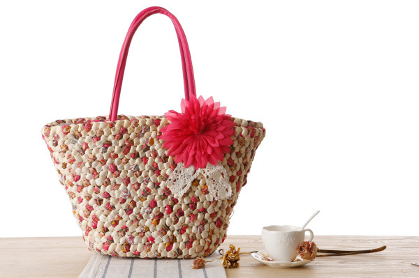Woven Beach Bags Women Large Straw Handbags Summer Fashion Zipper 17 Bolsa Feminina Flower Ladies Hand Bags Female New Arrival 2