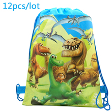 12pcs/lot Good Dinosaur Theme Decorate Mochila Happy Birthday Party Gifts Bags Baby Shower Boys Favors Drawstring Blue Backpack