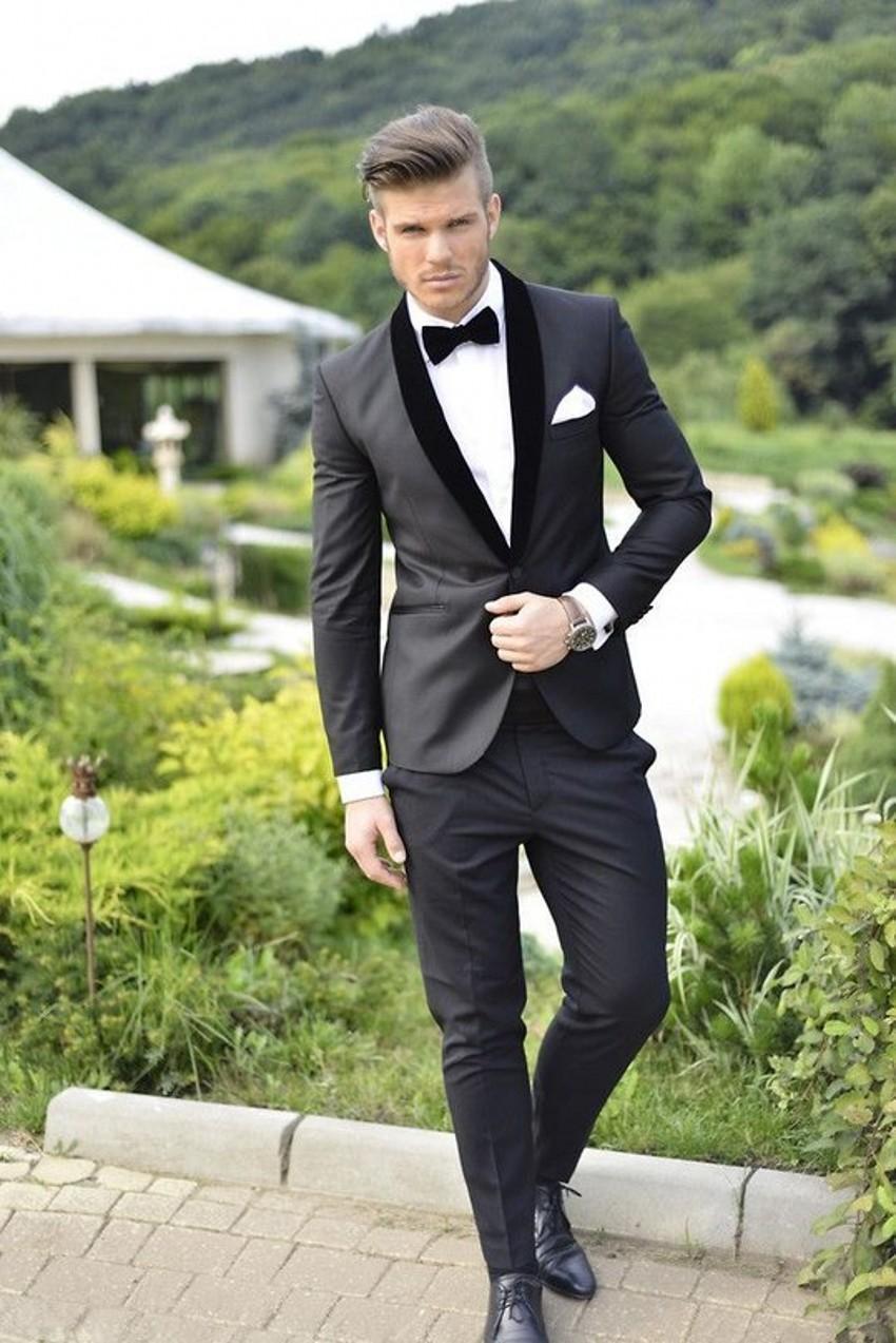 2016 Groom Tuxedos Charcoal Grey Best man Shawl Black Collar Groomsman Men Wedding Suits Bridegroom Jacket+Pants+Tie