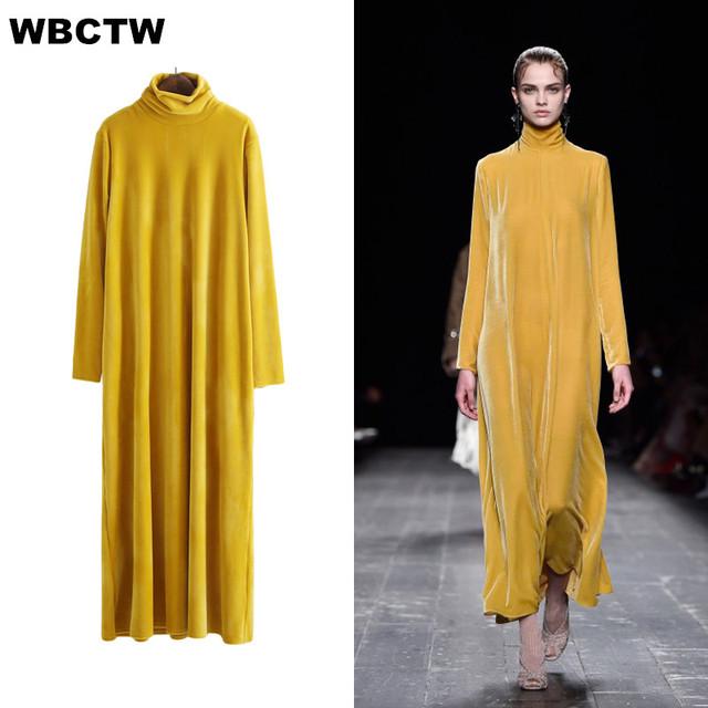 Turtleneck Dress 2017 Fall Winter Big Size Long Sleeves High Collar Pullovers Womens Vintage Velvet Women Dresses
