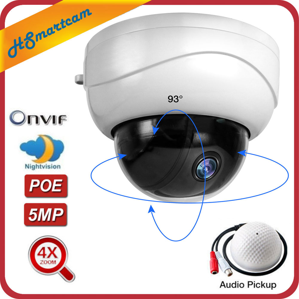 5MP POE 2 5 4X ZOOM HD 1080P 2MP PTZ IP IR Dome Audio MIC Microphone