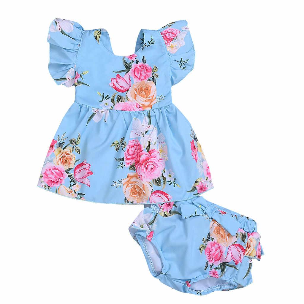 Ropa de verano para bebés y niñas, conjunto de flores para bebés, con estampado de volantes, pantalones cortos, 2 piezas Outfuits Sets, ropa de verano 2019, ropa Menina