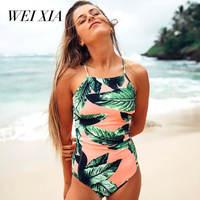 Christmas Gift WEIXIA Cross String One Piece Totem Female Swimwear Wild Women Swimsuit Sexy Beach Swim