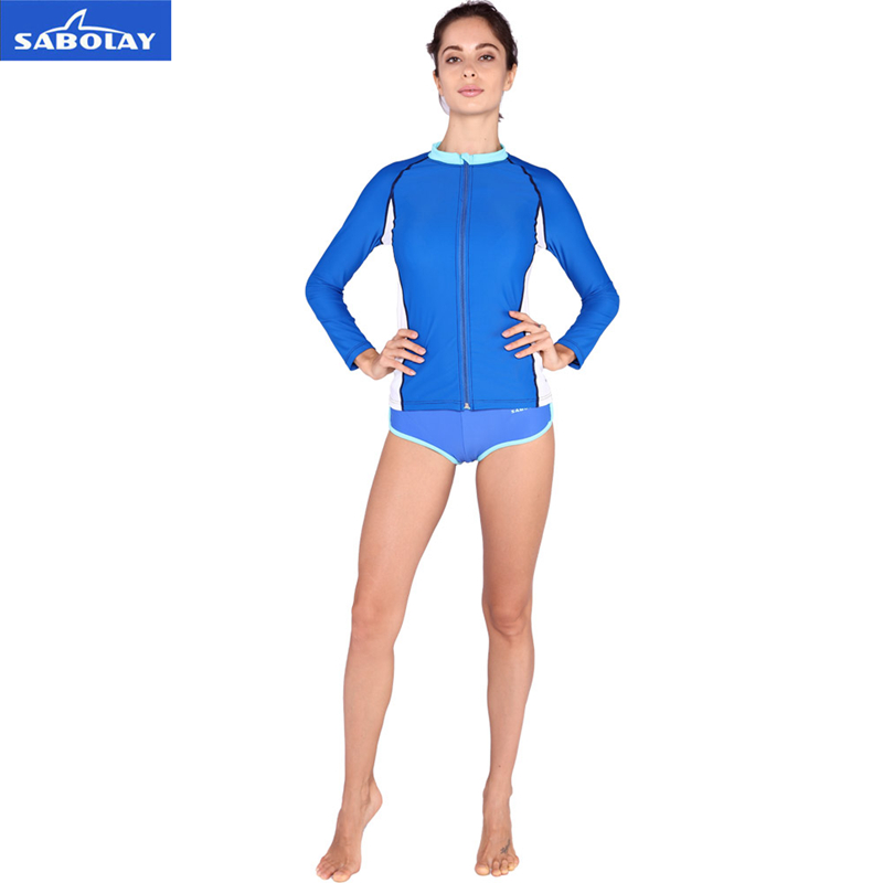 SABOLAY Top High speed dry woman stretch sunscreen suits beach snorkeling snorkeling surf clothing sportswear UV zipper cardigan top high speed full teeth piston