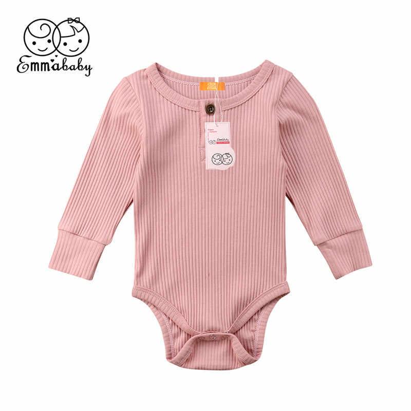 6f80eed47 Emmababy Newborn Baby Girl Boy Simple Bodysuit knitting Solid warm Long  Sleeve Bodysuits Jumpsuit Bodysuit One