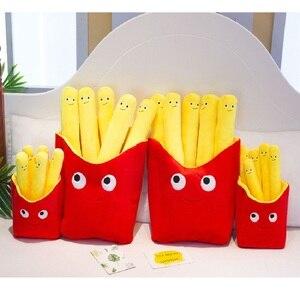 Image 4 - 아주 사랑스러운 미소 현실적인 감자 튀김 베개 귀여운 칩 플러시 장난감 재미있는 인형 생일 선물