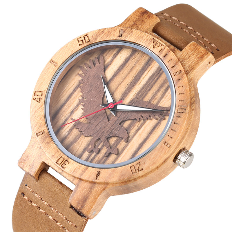 Chic Sandalwood Case Quartz Watch Movement For Women Men Leather Band Unique Three-dimensional Eagle Pattern Dial Wood Watch