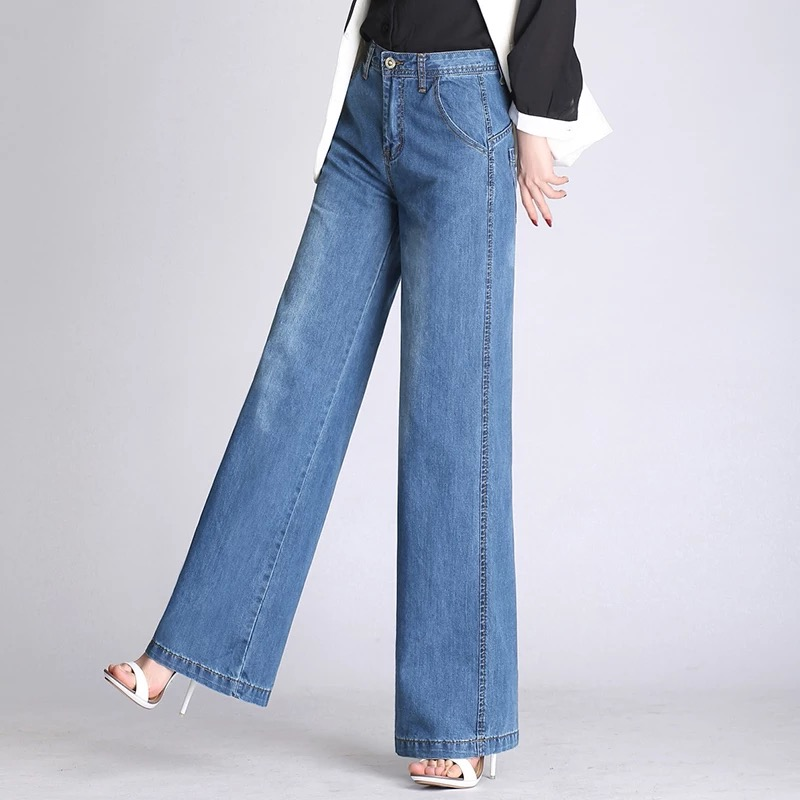 Wide leg pants for women plus size blue cotton blend denim jeans casual new fashion loose capris female autumn spring als0802 3