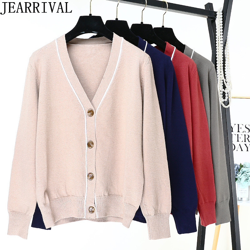 2018 New Womens Long Sleeve Cadigans Korean Fashion Single Breasted Casual Loose Sweater Ladies Winter Clothes Knitwear Tops