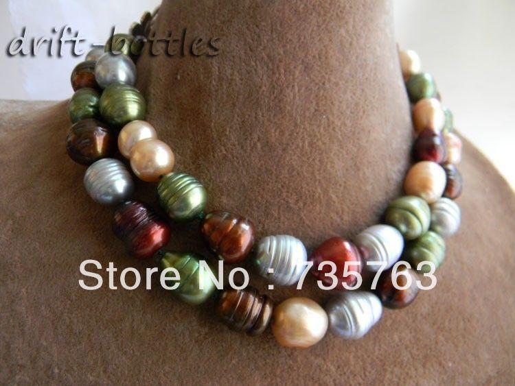 CHAUDE 00366 Grand 32 ''13mm x 16mm Multicolore Riz Perle D'eau Douce Collier