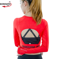 Women Sexy Back Sports Shirts Long Sleeve Gym Fitness Clothing Female Yoga Tops Running Shirts