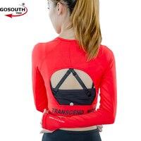 Femmes Sexy retour Chemises Sport À Manches Longues Gym Fitness Vêtements De Yoga Femmes Tops Chemises Course F-20
