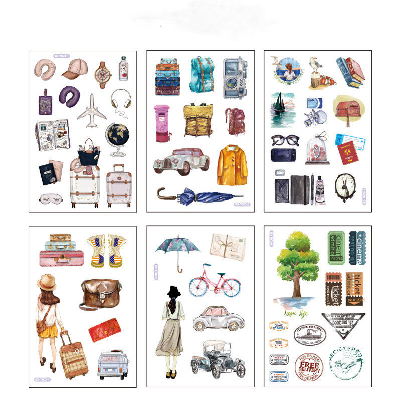 6 Pcs/pack Plane Trunk Bullet Journal Hat Decorative Stationery Stickers Scrapbooking DIY Diary Album Stick