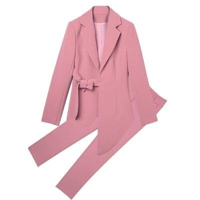 Petit Costume Nouvelle 1 Déesse Printemps Tempérament De Femme Haut Pantalon Rose Taille Costumes pièce Gamme Irrégulière Grande Mode Pantalons Deux gqOx1