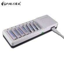 8 slots aa aaa carregador de bateria carga rápida com display led para aa aaa nimh nicd 1.2 v baterias recarregáveis com 2 portas usb