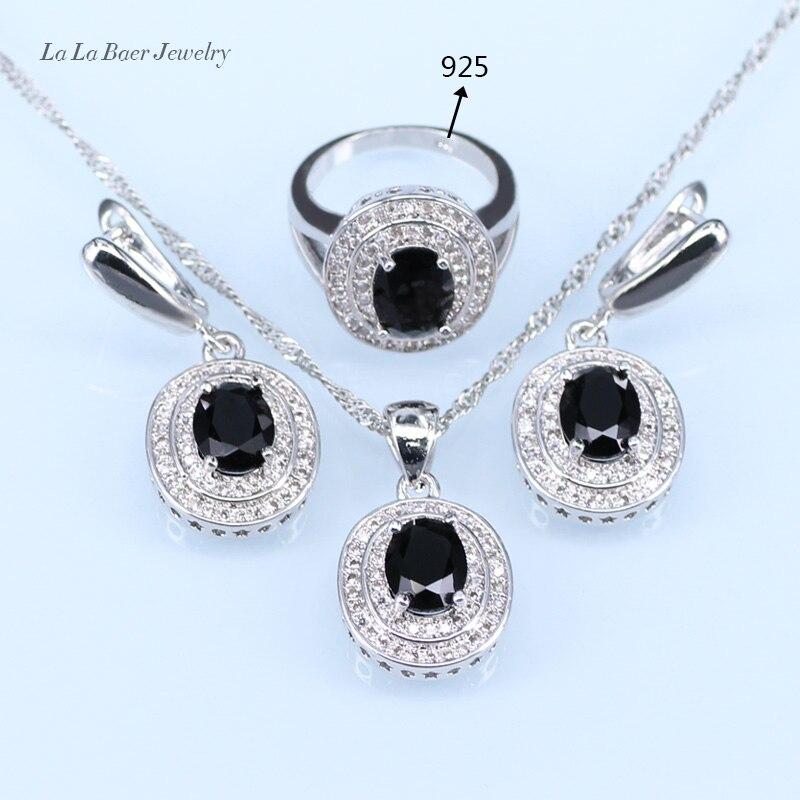 L   B Rodada Black crystal Conjuntos de Jóias Zircão Branco Prata 925 Colar  Pingente Anel Brincos Para As Mulheres Do Logotipo da Cor 9558c9de35