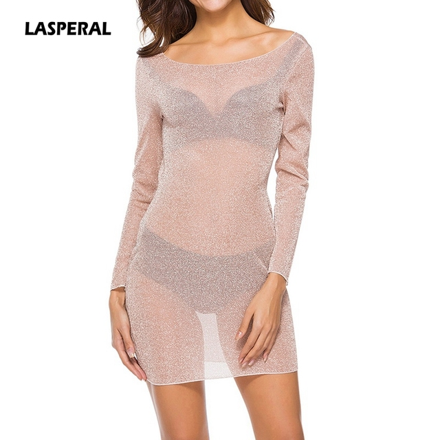 Lasperal New Fashion Women Y Night Club Party Dress 2018 Spring Summer Transpa See Through