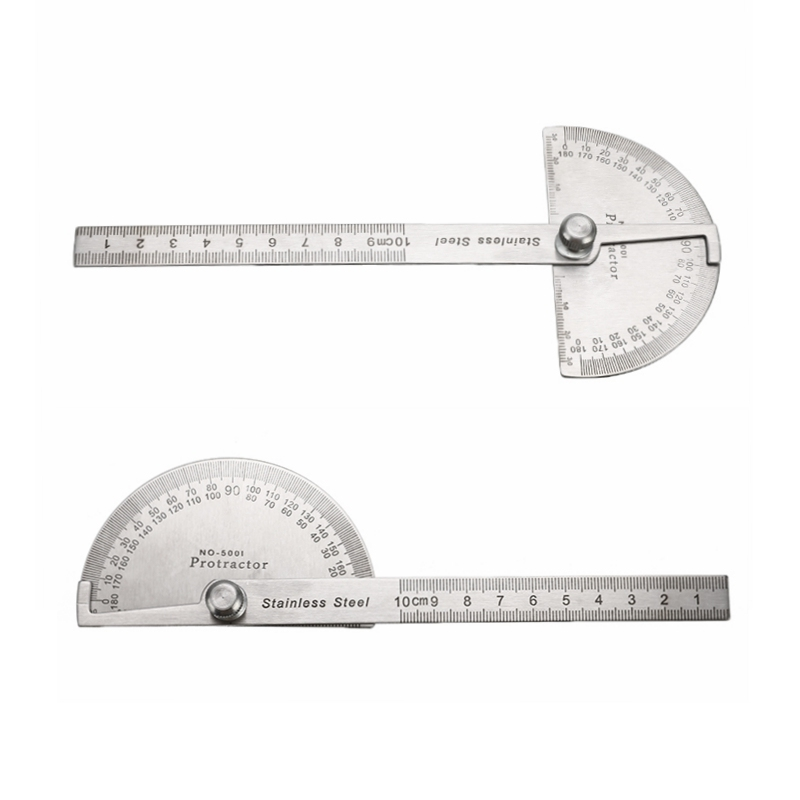 Stainless Steel 180° Protractor Angle Finder Arm Rotary 10cm Measuring Round Head General Tool Craftsman Ruler Goniometer Tool