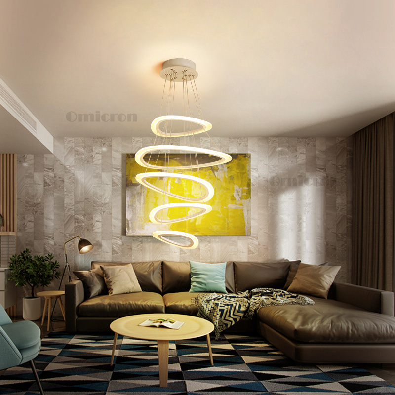 2018 Modern pendant lights for living room dining room Circle Rings acrylic LED Pendant Lamp hanglamp suspension luminaire nordic pendant light modern hanglamp gold black suspension luminaire for living dining room loft led lamp lamparas