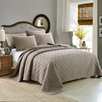 New Simple Pure Coffee Leaves Embroidered Quilt 3 Set 100 Cotton Bed Cover Set High Quality