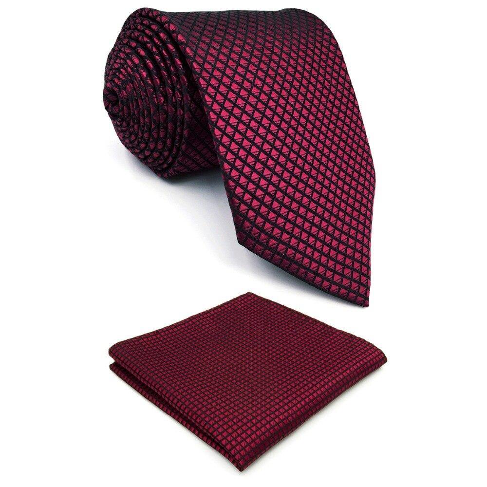 "U25 Solid Checked Burgundy Crimson Red Black Mens Neckties 100% Silk Matching Hanky For Men Silk Brand Men Tie Wedding 63"""