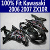 ABS Motorcycle Parts For Kawasaki Fairings Ninja ZX10R 2006 2007 Red Flames In Black ZX 10R