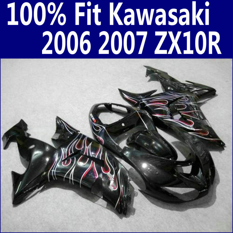 ABS motorcycle parts for Kawasaki fairings Ninja ZX10R 2006 2007 red flames in black ZX-10R 06 07 fairing kit ZS65 abs plastic fairings for kawasaki ninja zx6r 2005 2006 green black motorcycle fairing kit zx6r 05 06 ty32
